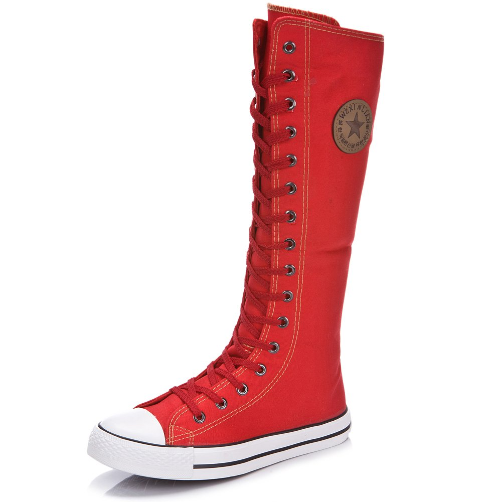 rismart Women's Lace Up Tall Punk Dancing Canvas Boots(red,us9)