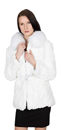 2f06bc83f Image Unavailable. Image not available for. Color: OBURLA Women's Real Rex  Rabbit Fur Coat ...