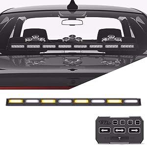 SpeedTech Lights Striker TIR 8 Head LED Traffic Advisor Light Bar for Emergency Vehicles/Strobe Directional Warning Light Windshield Mount - Amber/Clear Alternating