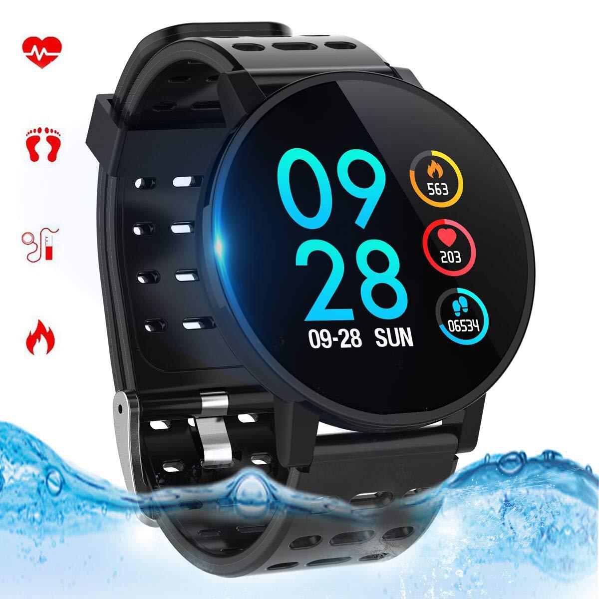 Smartwatch con Pulsómetro,Reloj Inteligente Impermeable IP67 Hombres Mujeres Pulsera Actividad con Cronómetro, Monitor de Sueño,Podómetro, para ...