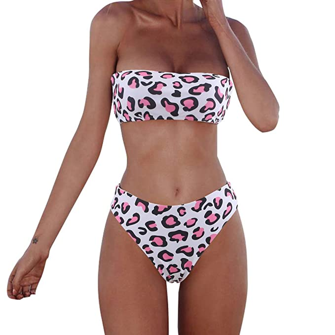 de85b0c4abffb9 Amazon.com: XUNYU Women Bikini Set Bandeau Strapless Swimsuits Two Pieces  Solid Bathing Suit Beach Wear: Clothing