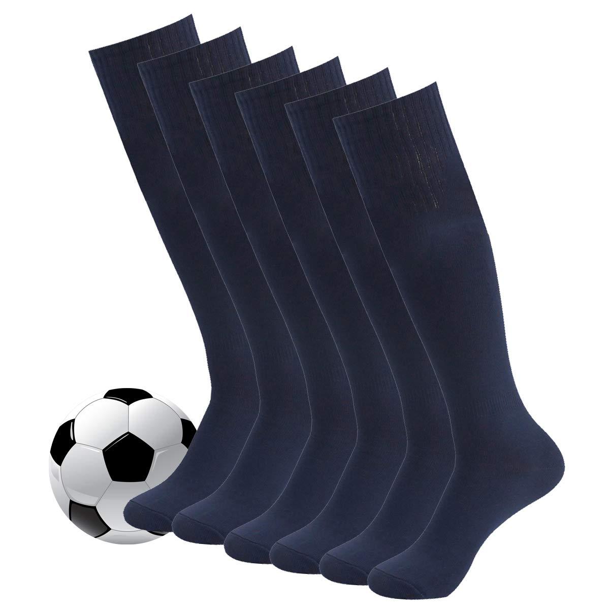 Football Socks,Mens Womens Team Sports Long Tube Softball Socks 6 Pairs Navy by Fasoar