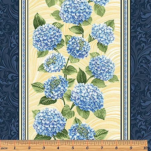 Yellow Border Stripe, Blue Hydrangea - Benartex Cotton (Blue Fabric Borders)
