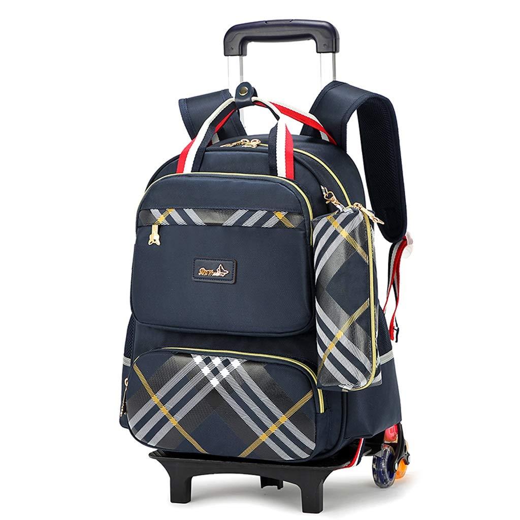 CcBeatY ローリングバックパック6車輪トロリーバッグ - 男の子女の子十代の若者たちトロリーバッグプライマリ通学用防水大容量学生子供のための取り外し可能な学校旅行ハイキングデイパック B07Q7W8WPV A