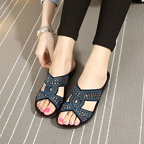 ZPPZZP Ms sandali pantofole trapano artificiale spessa di mezza età e anziani 40EU blu