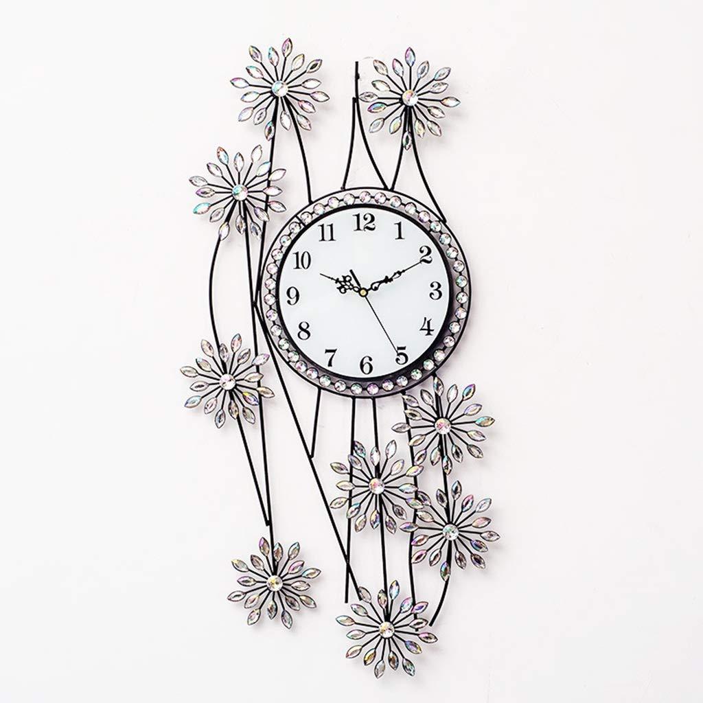 SN Modern Groß Leise Wanduhr, Wohnzimmer Schlafzimmer Küche Silber- Metall Diamant, Digital Blume Dekoration