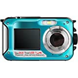 Hoyxel Waterproof Digital Camera, EG04 Dual Screen Mini FHD Video Camera FHD Support Underwater/Sports Recording Self Shoting(Blue)