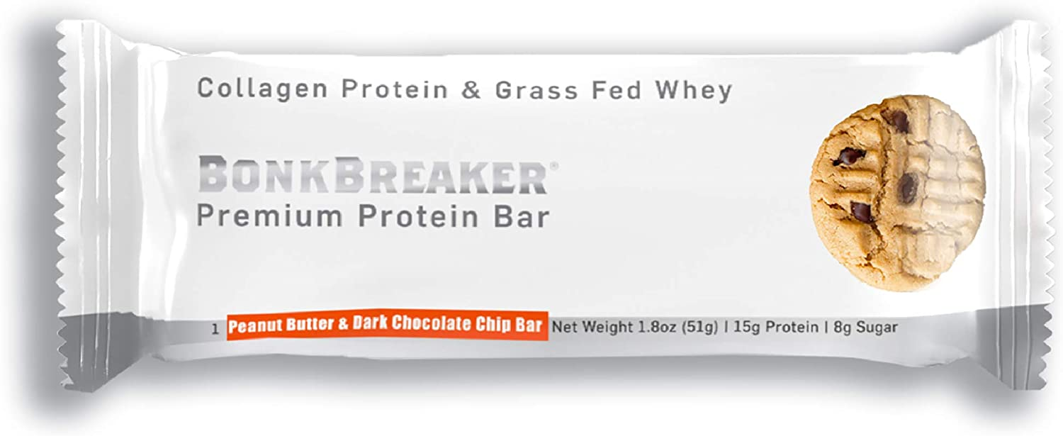 Peanut Butter & Dark Chocolate Chip Premium Protein Bar by Bonk Breaker - All Natural, Gluten Free, Low Calorie, Low Carb - 1.8 Oz each - 12 Bars