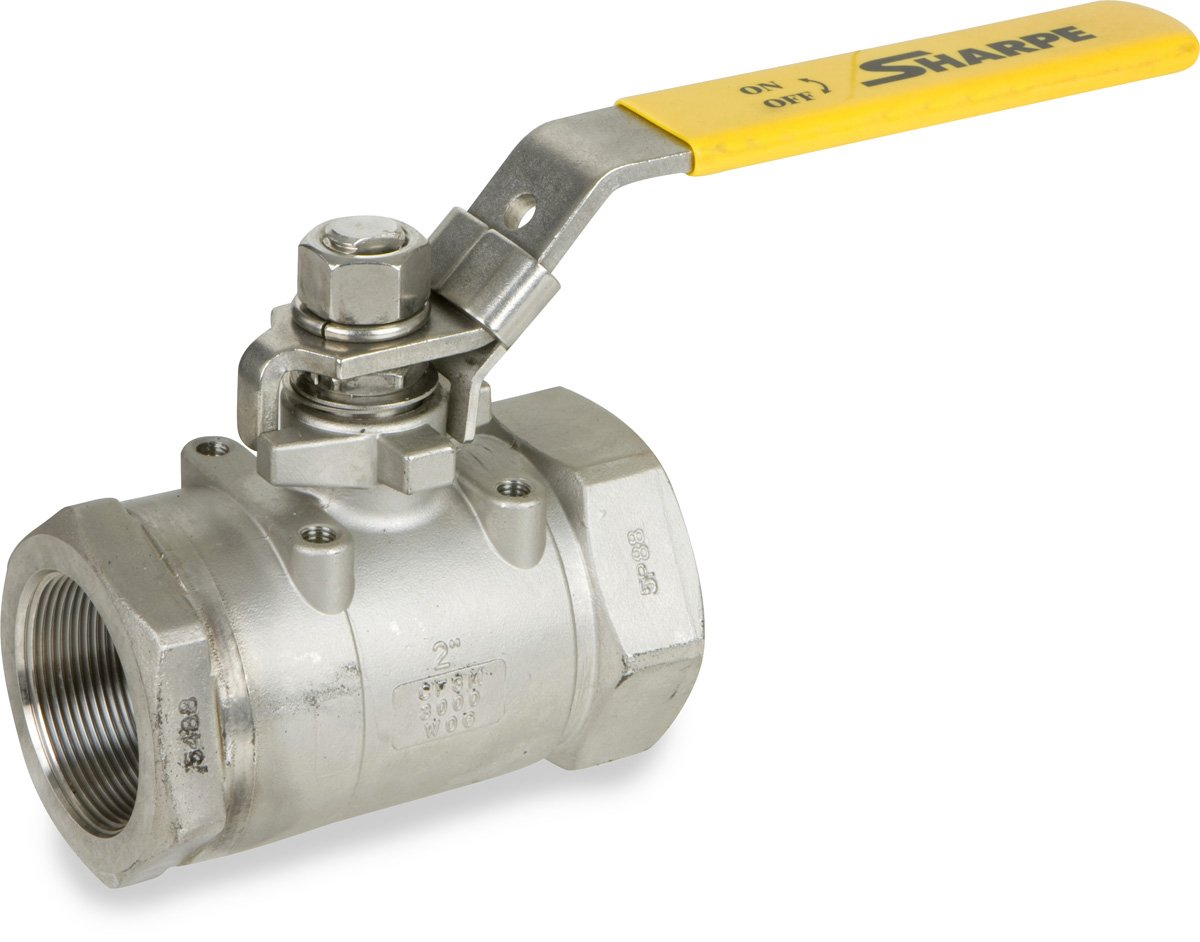 Sharpe Valves 50C767 Series Stainless Steel 316 Ball Valve, Two Piece, Inline, Lever Handle, 1/2'' NPT Female