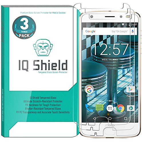 Moto Z2 Force Screen Protector (3-Pack), IQ Shield Tempered Ballistic Glass Screen Protector for Moto Z2 Force 99.9% Transparent HD and Shatter-Proof Shield