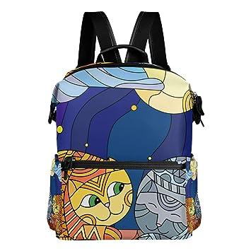 TIZORAX - Mochila Escolar de Gatos en Cristal Tintado, diseño de Estrella de Cielo y Luna: Amazon.es: Deportes y aire libre