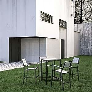Maine - Juego de 5 barras de exterior para patio, color marrón y gris