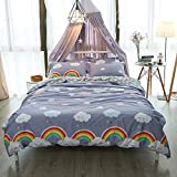 EnjoyBridal Rainbow Girls Boys Duvet Cover Sets Cotton Twin Bed Cloud Kids Bedding Cover Sets with Zipper 1 Quilt Comforter Cover and 2 Pillow Shams 3 Piece Bedding Collection