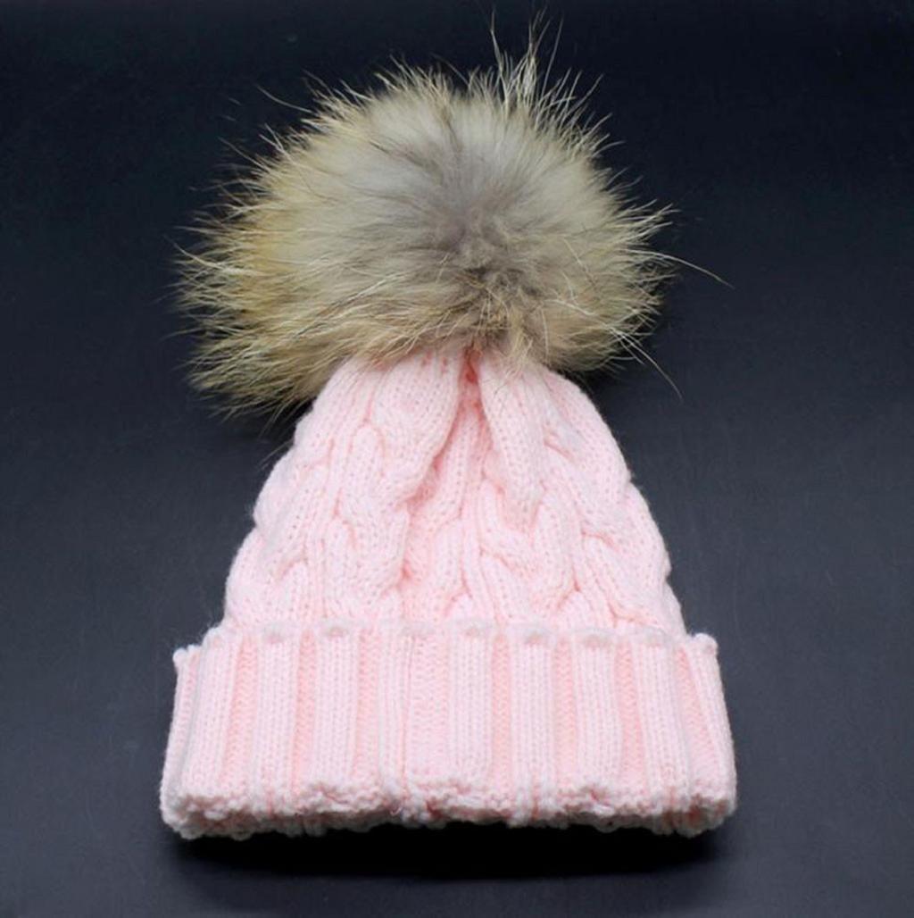 Gorros de punto Sannysis gorro de invierno para madre y bebé rosa a49fdd20a6f