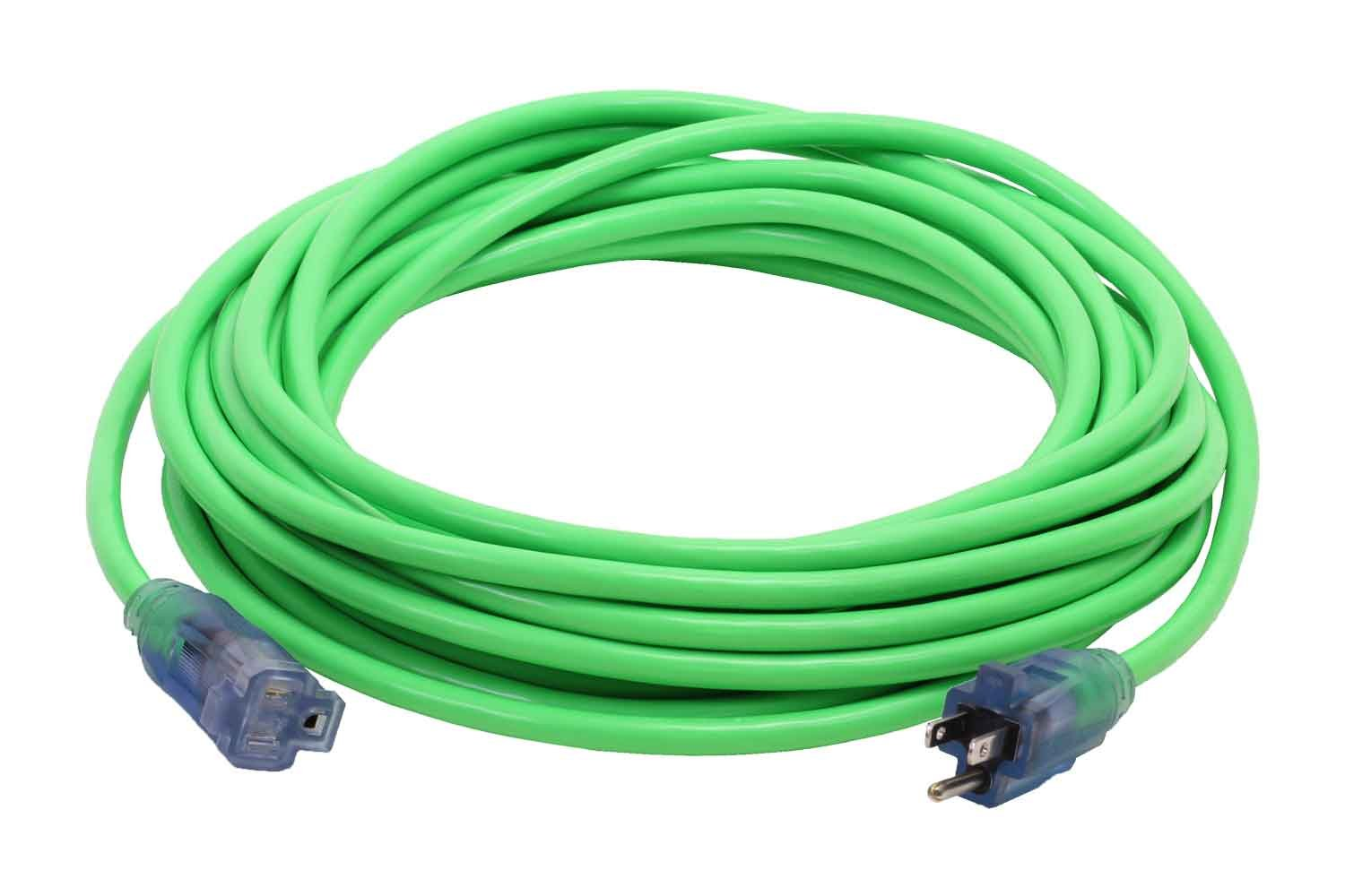100-Foot 12/3 Green Cold Weather Extension Cord with Power & Ground Check Lights - Your Name on Cord