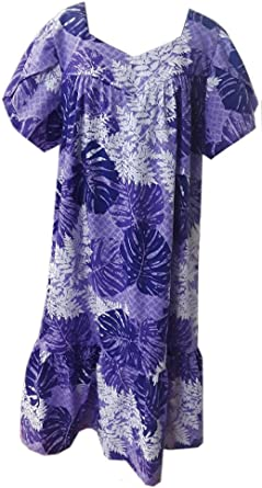 Jade Fashions Inc Women Hawaiian Long Double Ruffle Blue Plumeria Muumuu