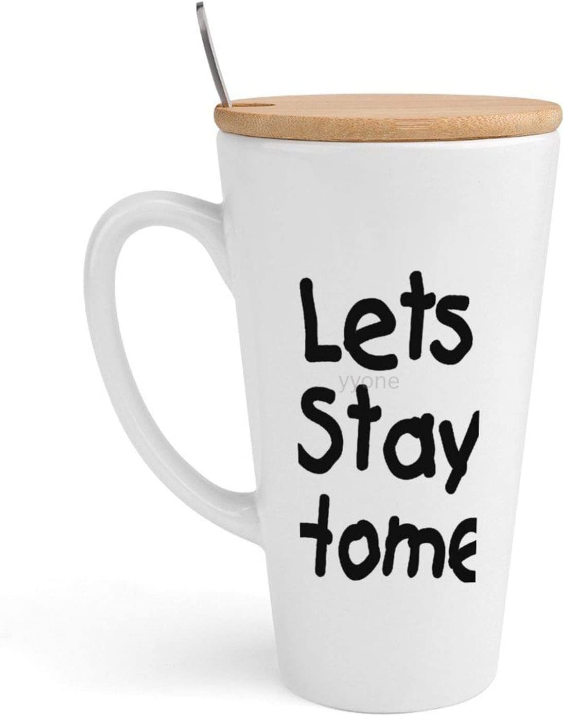 Ceramic Coffee Mug Tea Cup Lets Stay Home 1 - Birthday Christmas Gift Tea Cup White Ceramic 500ML