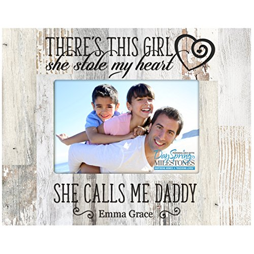 Cheap LifeSong Milestones Personalized Gifts for Dad Fathers day gift Custom picture frame There's This Girl she stole my heart and he calls me Daddy (Distressed light Faux Barnwood)