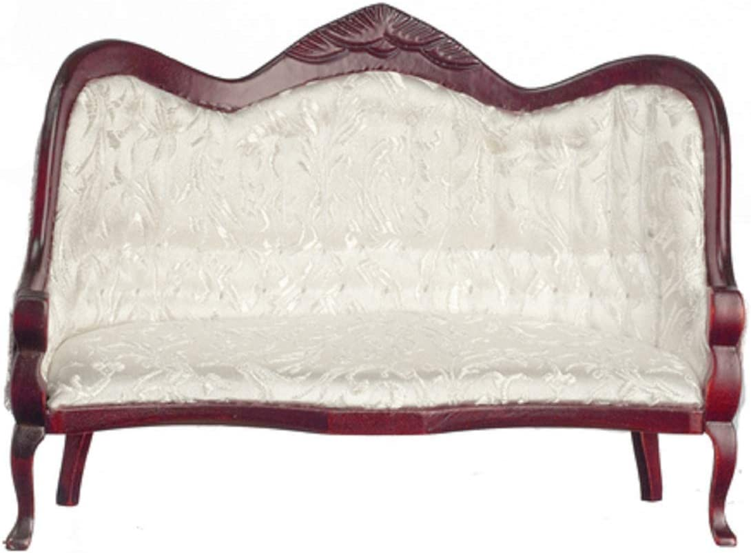 Melody Jane Dollhouse Victorian Mahogany White Sofa Miniature Living Room Furniture