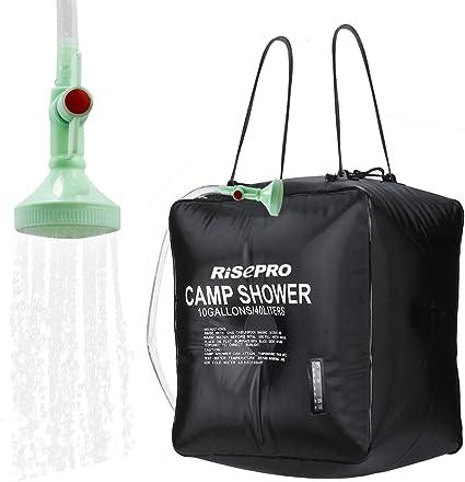 Bolsa solar de ducha, Risepro® 10 galones/40 l. Bolsa de ducha con calefacción solar para acampar con agua caliente a temperatura 45 °C, para ...