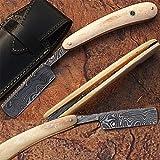 Custom Made Damascus Steel Straight Razor Camel Bone Handle w/ Sheath (Limited Edition)