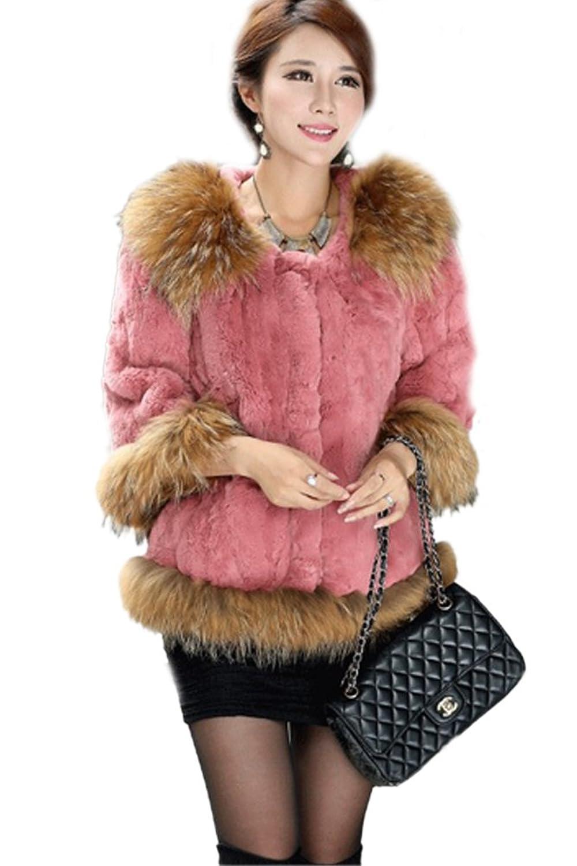 queenshiny Damen 100% Echte Rex Kaninchen Pelz mantel Jacken Mit Waschbär Pelz kragen Winter Mode
