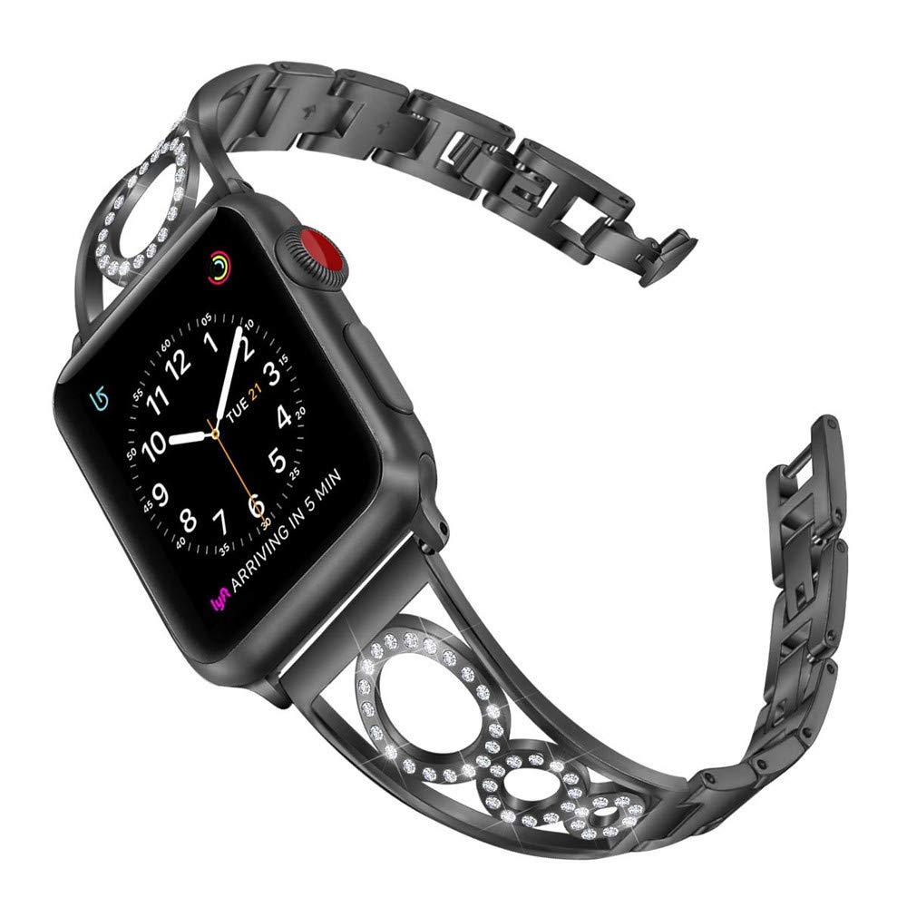 MeiLiio Series 3 Apple Watch Watches Bands, Sparkling Bling Diamonds Replacement Stainless Steel Bracelet Adjustable Wristband for iWatch Series 4/2/1 Strap Women&Girl (38/40mm,Black) by MeiLiio