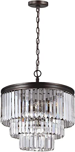 Sea Gull Lighting 3114004-710 Carondelet Four-Light Chandelier with Clear Beveled Glass Panels, Burnt Sienna Finish