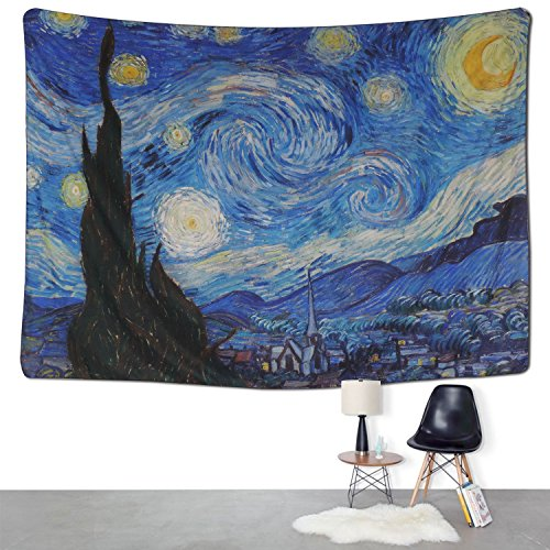 (BLEUM CADE Tapestry Wall Hanging Wall Tapestry Hippie Galaxy Tapestry Starry Night Tapestry Mandala Bohemian Tapestry Living Room Bedroom Space Decor)