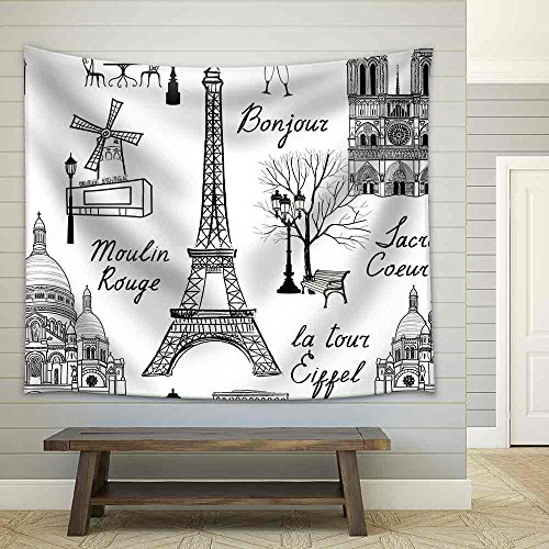 Travel Paris Seamless Pattern Vacation in Europe Fabric Wall