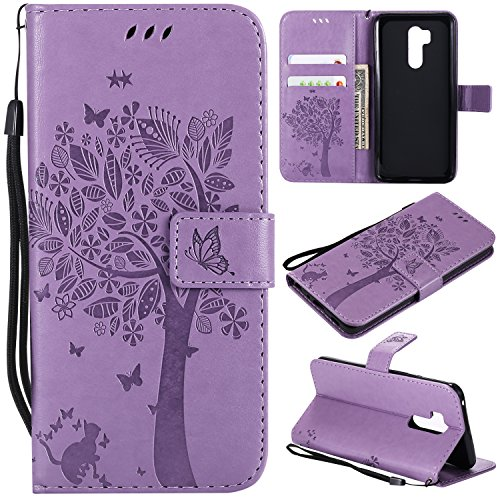 Price comparison product image LG G7 ThinQ Case,LG G7 Wallet Case with Screen Protector,LG G7 ThinQ PU leather Protective Case Emboss Cat and Tree Folio Magnetic with Card Holder Kickstand and Flip Case for LG G7 ThinQ Light Purple