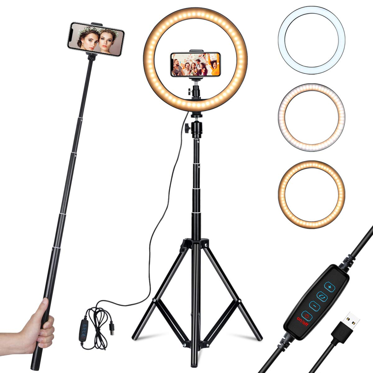 Amconsure LED Ring Light,10'' Selfie Ring Light with Adjustable Tripod Stand & Phone Holder for Live Stream/Makeup/YouTube Video/Photography Compatible iPhone Android by Amconsure