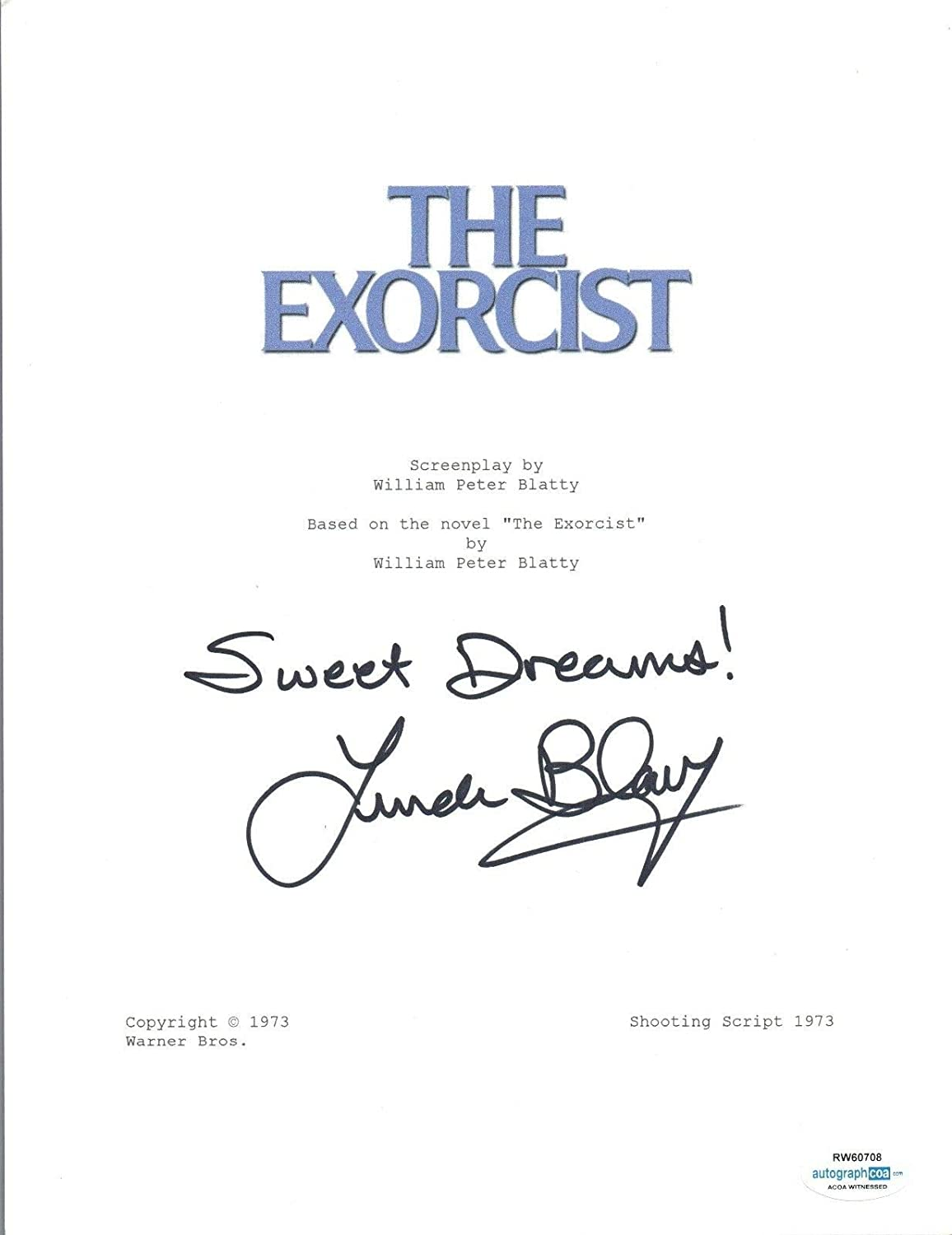 Linda Blair Signed Autograph THE EXORCIST Full Movie Script ACOA Witnessed Proof Unbranded