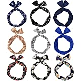 Mtlee 9 Pieces Multicolor Twist Bow Wire Headbands Wrap Hair Accessory Hairbands for Women and Girls