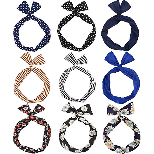 TOODOO 9 Pieces Multicolor Twist Bow Wire Headbands Wrap Hair Accessory Hairbands for Women and Girls
