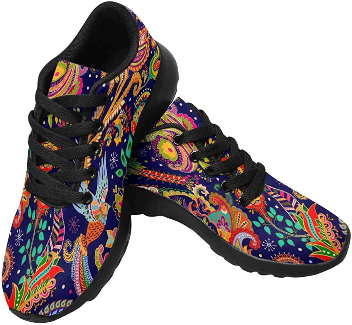 INTERESTPRINT Women s Running Shoes – Casual Breathable Athletic Tennis Sneakers Birds and Decorative Elements, Paisley