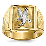 Size 10 - Solid 14k Yellow and White Gold Two Tone Diamond-Cut Eagle Mens Ring (5mm)