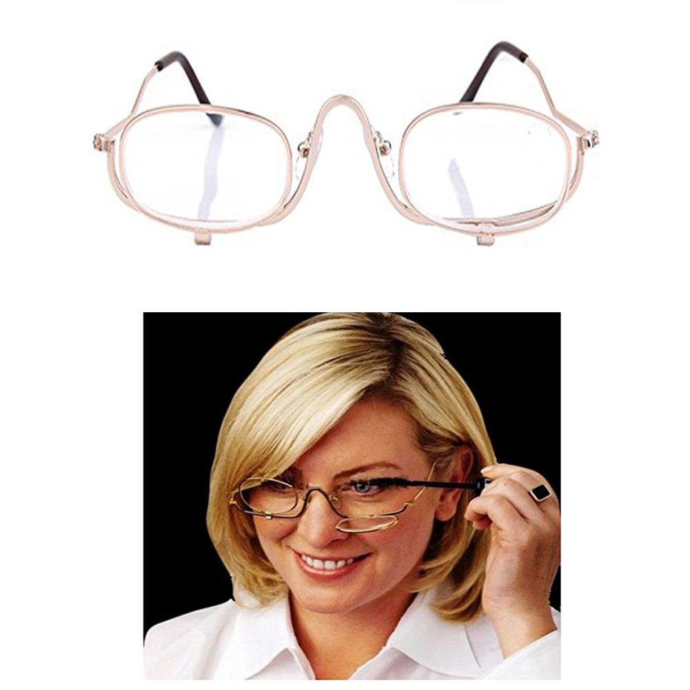eb8f4ed0cd Amazon.com  Make up Reading Glasses Woman Wear Eye Glasses Magnifying  Magnifier Glasses Flips Lens up and Down Apply to Make up with Glasses Case  (2.5)  ...