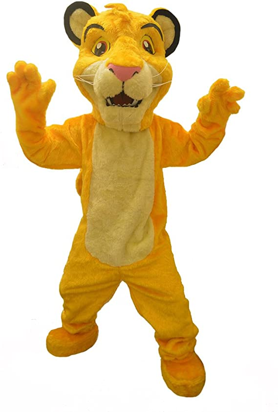 Amazon Com Kf The Lion King Simba Mascot Party Costume Adult Size Outfit Halloween Cosplay Clothing