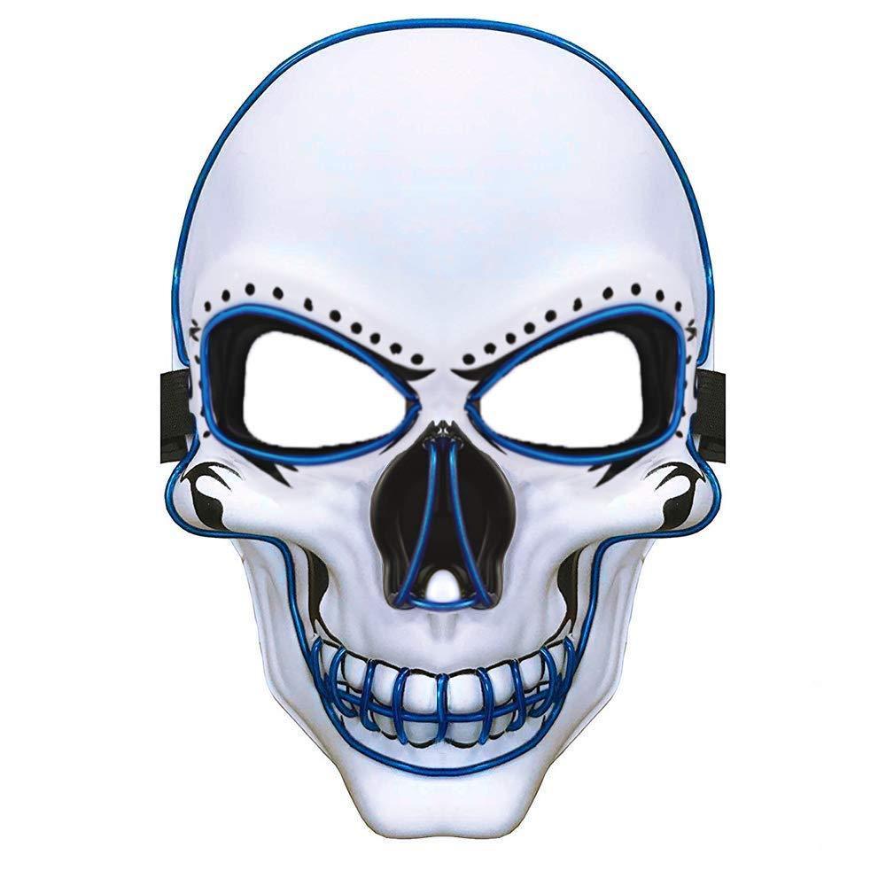 Charlemain Halloween la Maschere, LED Illumina la Maschere,per Halloween Cosplay Feste del Partito Halloween Costume Cranio Luminoso Maschera Piena Maschera