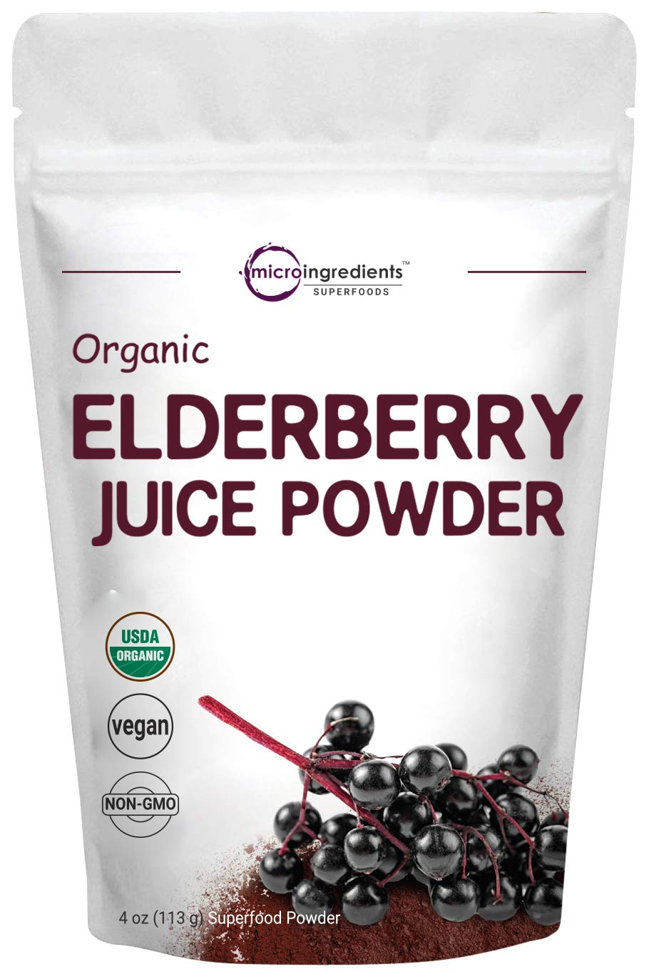 Certified Organic Elderberry Juice Powder, 4 Ounce, Strongly Supports Healthy Immune Response, Energy and Vascular Health, No GMOs and Vegan Friendly