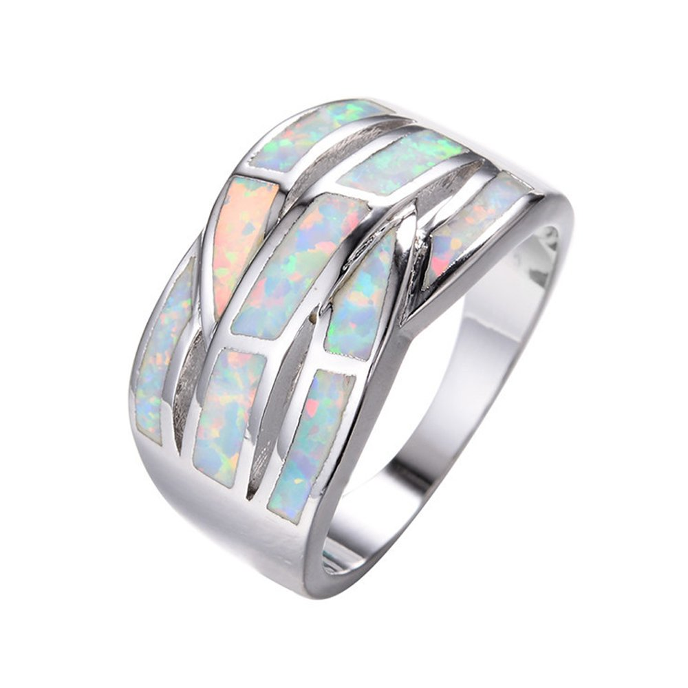 FJT Jewel Multilayer White Fire Opal Crossed Ring Vintage Jewelry for Women Wedding Engagement Rings