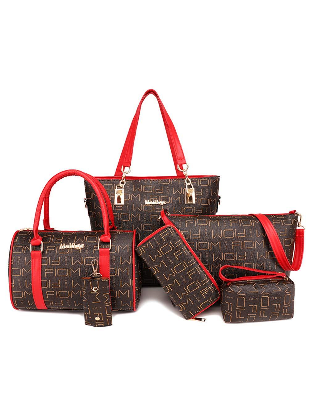 婦人用バッグレザーショルダーバッグ/プリントレター6個セットメッセンジャーバッグファッション大容量ハンドバッグ財布ハンドバッグキーバッグ B07R9Q46XG brown 1