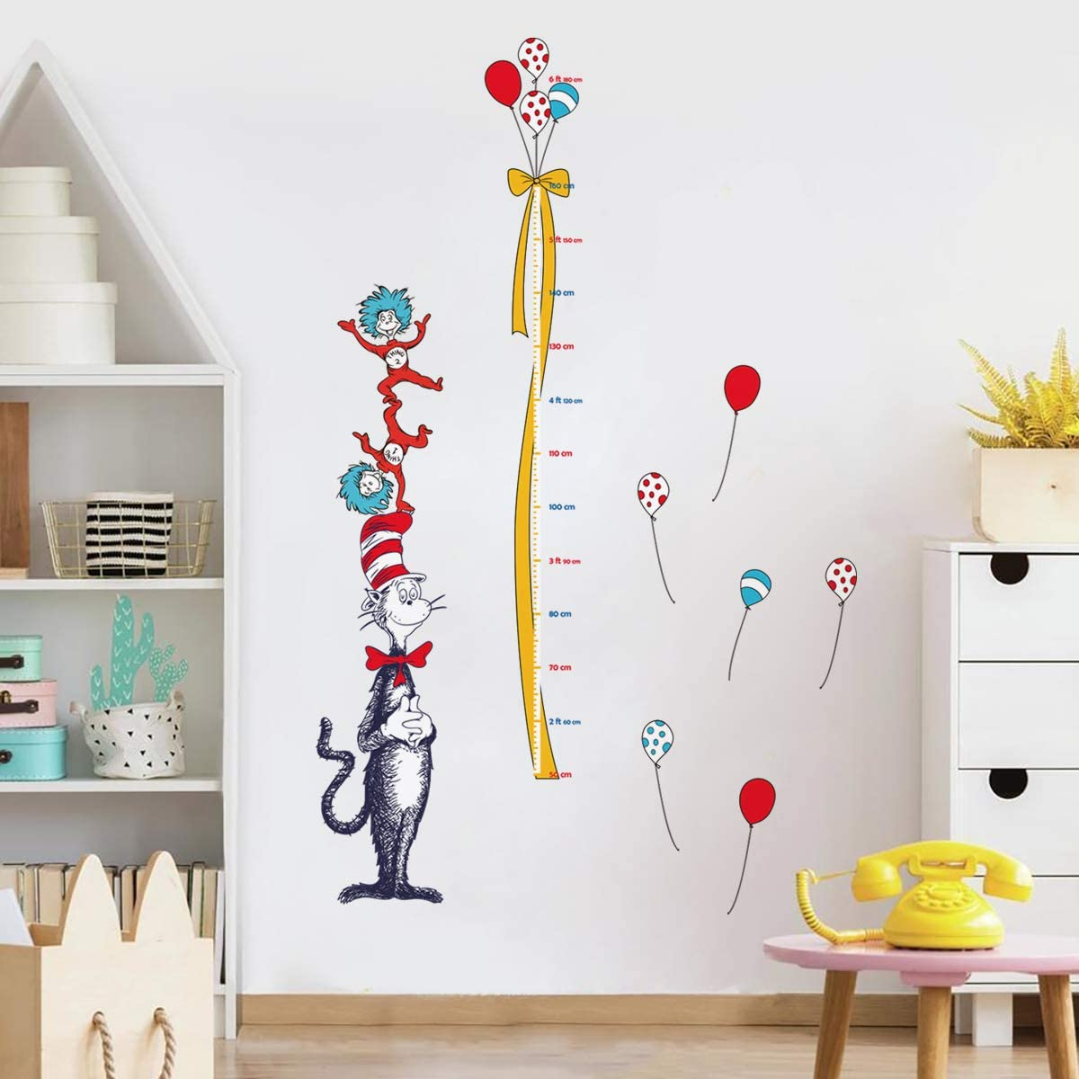 decalmile Dr Seuss Height Chart Wall Decals Kids Measure Growth Wall Stickers Baby Nursery Classroom Childrens Bedroom Wall Decor