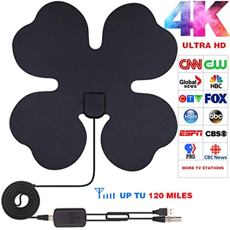 TV Antenna, HDTV Indoor Amplified Antennas with 120 Miles Long Range  Support 1080p 4K TVs with 2019 Newest Amplifier Signal Booster for Free  Local