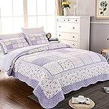 Brandream Queen Size Purple Floral Comforter Set Girls Patchwork Quilt Set