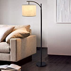 DLLT Led Floor Lamp,Modern Tall Floor Lamp Farmhouse Industrial Light 8W Classic-Arc with Hanging Floor Lamp Drum Shade,Reading Standing Lamp for Living Room,Bedroom,Office,Study Room,E26 Bulb-Warm