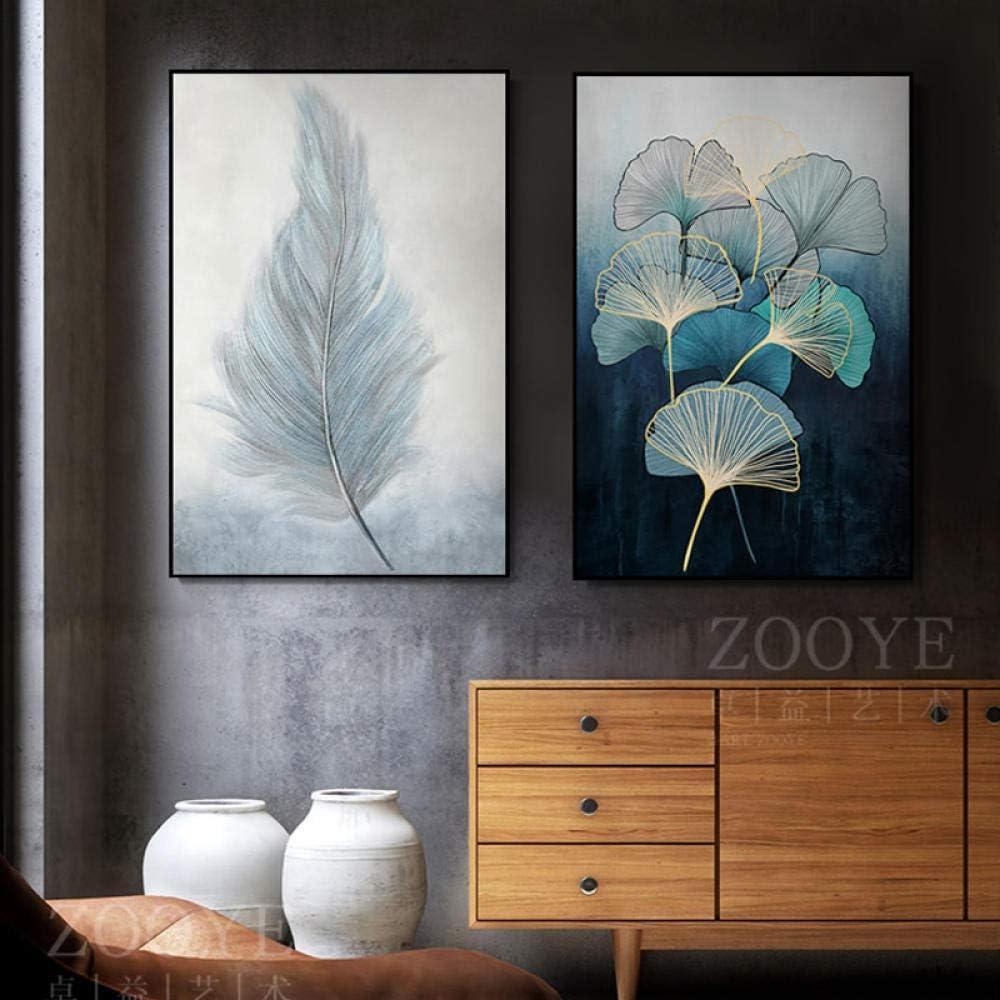 Escandinavo Lienzo Pintura Suave Plumas Zen Hojas póster e impresión Minimalista Suave Color Cuadros Sala de Estar Sala Pared Arte Decoracion 40x60cmx2 no Enmarcado