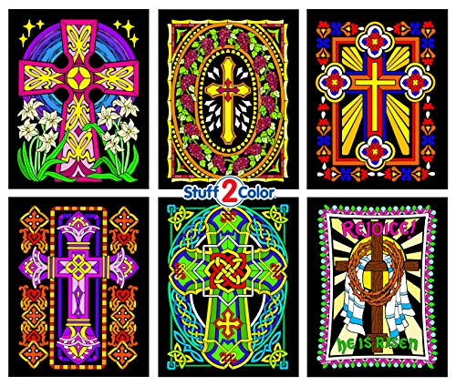 Stuff2Color Crosses - 6 Pack of Fuzzy Velvet Coloring Posters