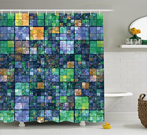 Ambesonne Modern Shower Curtain, Mosaic Geometric Design with Rainbow Colors Patchwork like Design Artwork, Fabric Bathroom Decor Set with Hooks, 70 Inches, Blue Yellow and - Design Rainbow Green